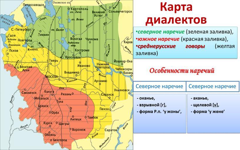 Карта диалектов северное наречие (зеленая заливка), южное наречие (красная заливка), среднерусские говоры (желтая заливка)