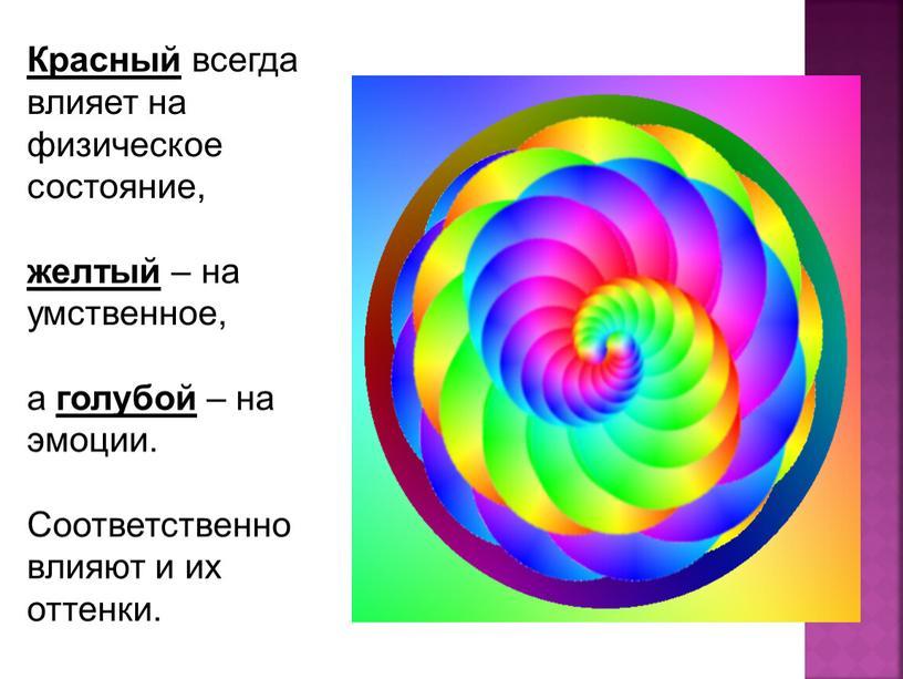 Красный всегда влияет на физическое состояние, желтый – на умственное, а голубой – на эмоции