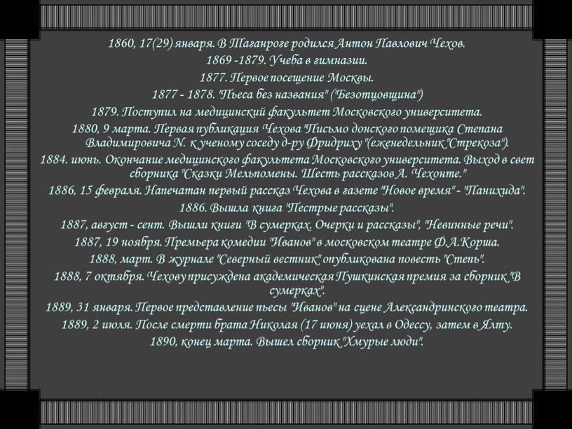 В Таганроге родился Антон Павлович