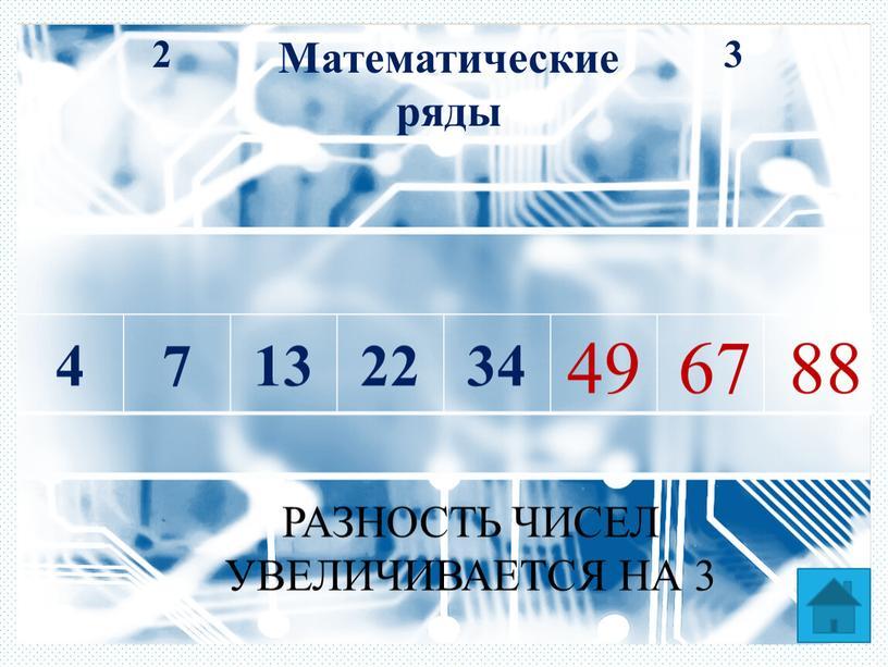 Математические ряды 3 2 4 7 13 22 34 49 67 88