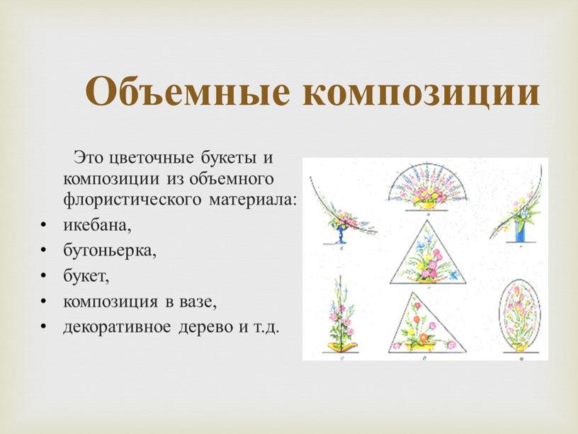 Объемные композиции Это цветочные букеты и композиции из объемного флористического материала: икебана, бутоньерка, букет, композиция в вазе, декоративное дерево и т