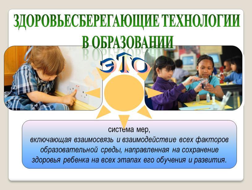 система мер, включающая взаимосвязь и взаимодействие всех факторов образовательной среды, направленная на сохранение здоровья ребенка на всех этапах его обучения и развития. здоровьесберегающие технологии в…