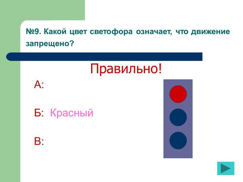 Какой цвет светофора означает, что движение запрещено?