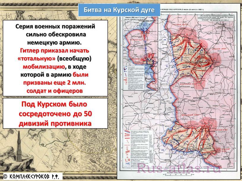 Битва на Курской дуге Серия военных поражений сильно обескровила немецкую армию