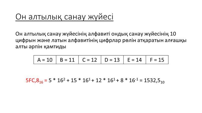 Он алтылық санау жүйесі Он алтылық санау жүйесінің алфавиті ондық санау жүйесінің 10 цифрын және латын алфавитінің цифрлар рөлін атқаратын алғашқы алты әрпін қамтиды