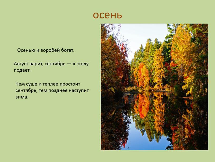 Осенью и воробей богат. Август варит, сентябрь — к столу подает