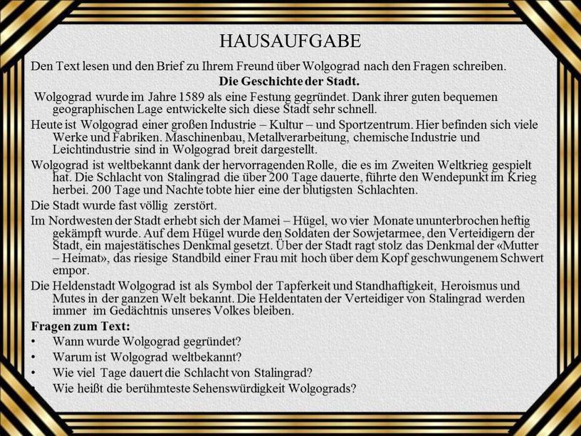 HAUSAUFGABE Den Text lesen und den