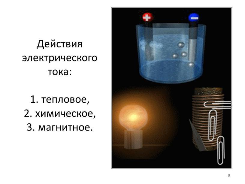 Действия электрического тока: 1
