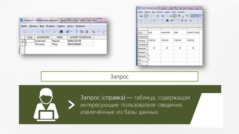 Запрос ( справка) — таблица, содержащая интересующие пользователя сведения, извлечённые из базы данных