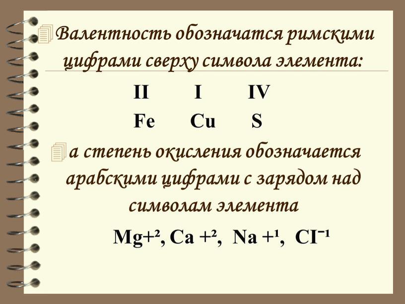 Валентность обозначатся римскими цифрами сверху символа элемента: