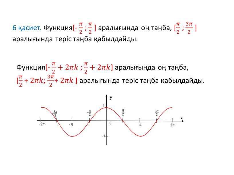 Функция[- 𝜋 2 𝜋𝜋 𝜋 2 2 𝜋 2 ; 𝜋 2 𝜋𝜋 𝜋 2 2 𝜋 2 ] аралығында оң таңба, [ 𝜋 2…