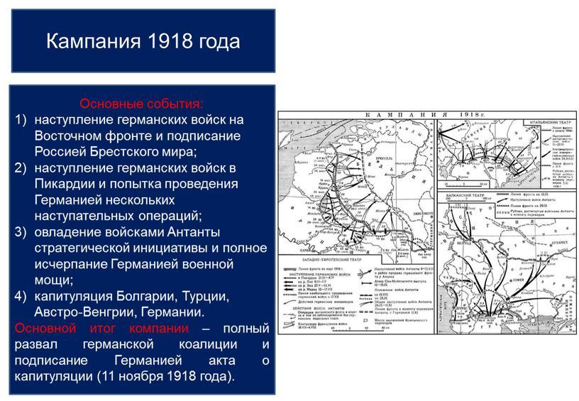 Кампания 1918 года Основные события: наступление германских войск на