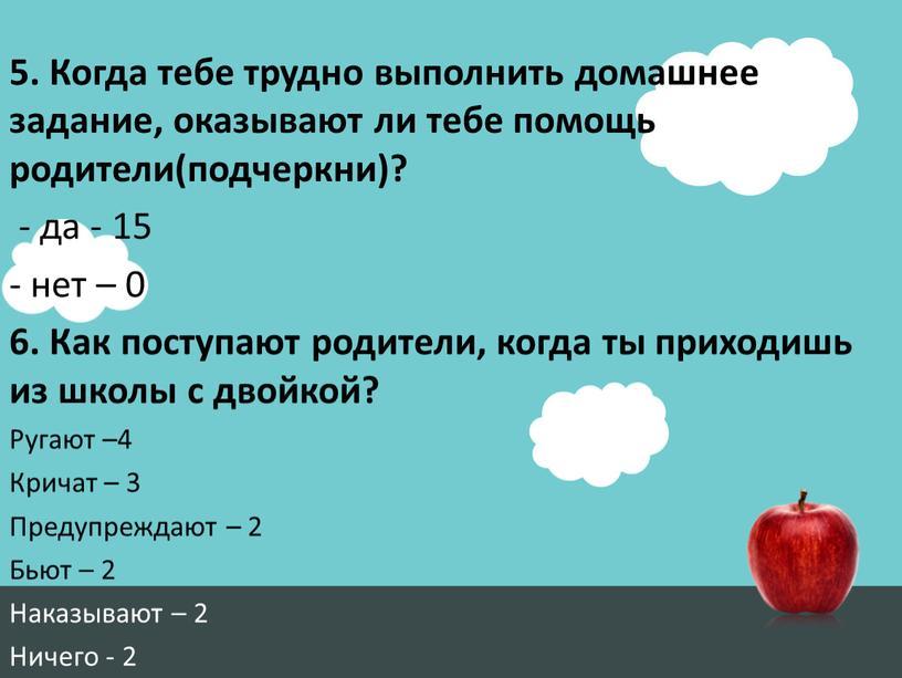 Когда тебе трудно выполнить домашнее задание, оказывают ли тебе помощь родители(подчеркни)? - да - 15 - нет – 0 6