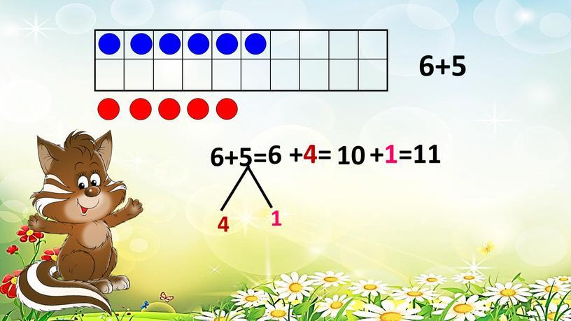 6+5 6+5= 4 1 +4= 10 +1=11 6
