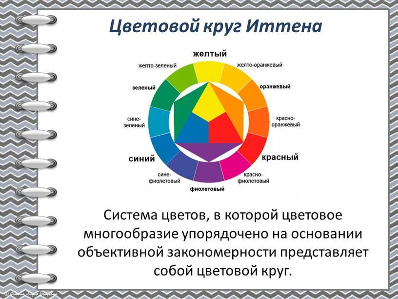 Система цветов, в которой цветовое многообразие упорядочено на основании объективной закономерности представляет собой цветовой круг