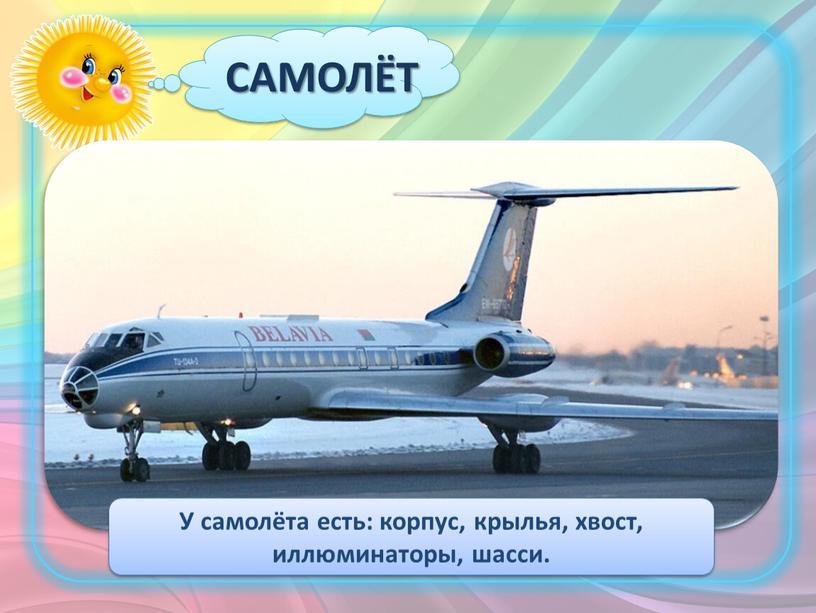 САМОЛЁТ У самолёта есть: корпус, крылья, хвост, иллюминаторы, шасси