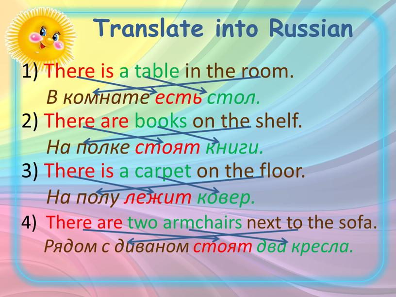 Translate into Russian There is a table in the room