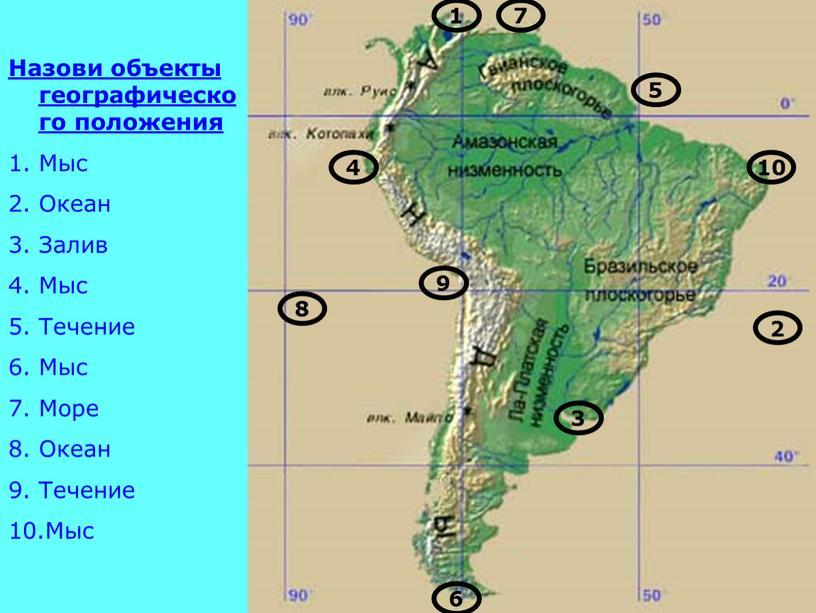 Назови объекты географического положения