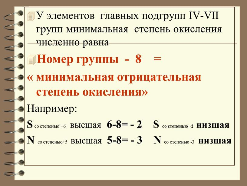 У элементов главных подгрупп IV-VII групп минимальная степень окисления численно равна