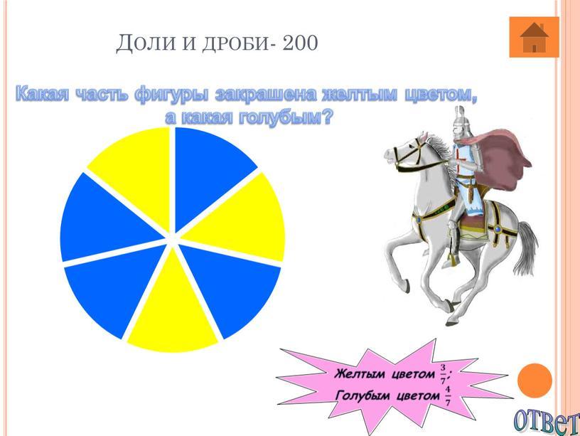 Доли и дроби- 200 ответ Какая часть фигуры закрашена желтым цветом, а какая голубым?
