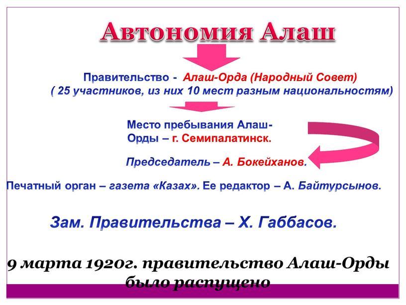 Правительство - Алаш-Орда (Народный