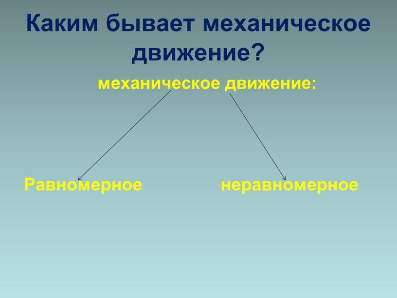 Каким бывает механическое движение? механическое движение: