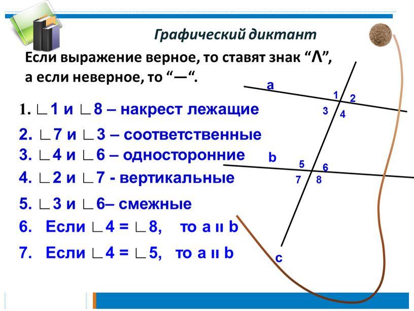 """Графический диктант Если выражение верное, то ставят знак """"Λ"""", а если неверное, то """"—"""""""