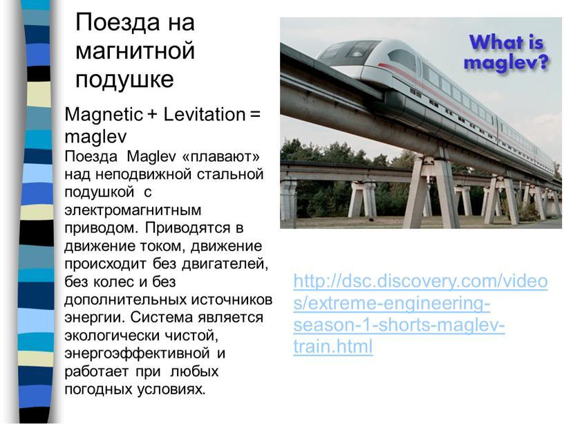 Поезда на магнитной подушке Magnetic +
