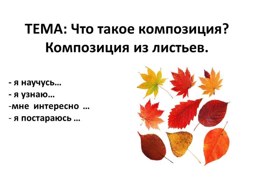 ТЕМА: Что такое композиция? Композиция из листьев