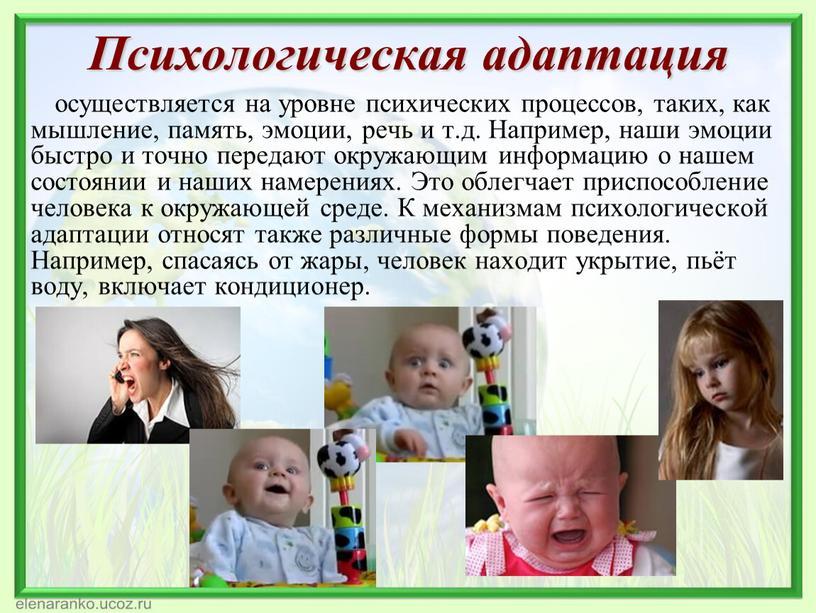 Психологическая адаптация осуществляется на уровне психических процессов, таких, как мышление, память, эмоции, речь и т