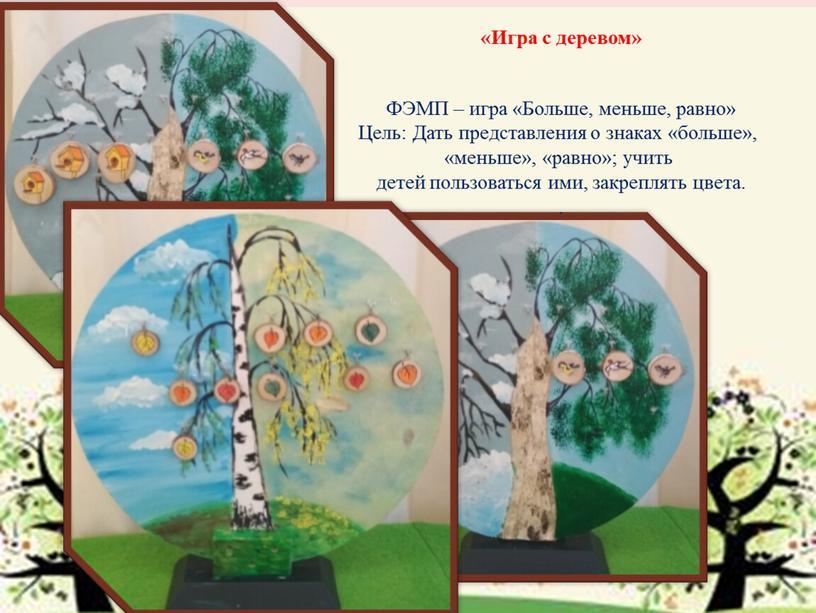 Игра с деревом» ФЭМП – игра «Больше, меньше, равно»