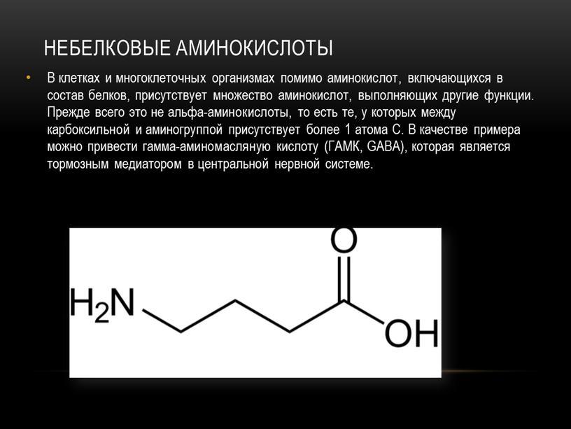 НЕБЕЛКОВЫЕ АМИНОКИСЛОТЫ В клетках и многоклеточных организмах помимо аминокислот, включающихся в состав белков, присутствует множество аминокислот, выполняющих другие функции