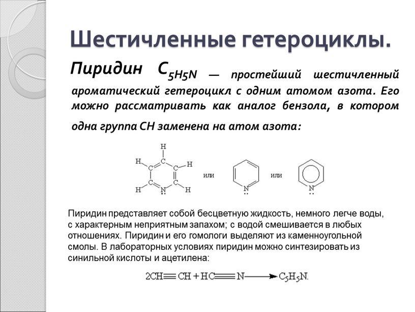 Шестичленные гетероциклы. Пиридин