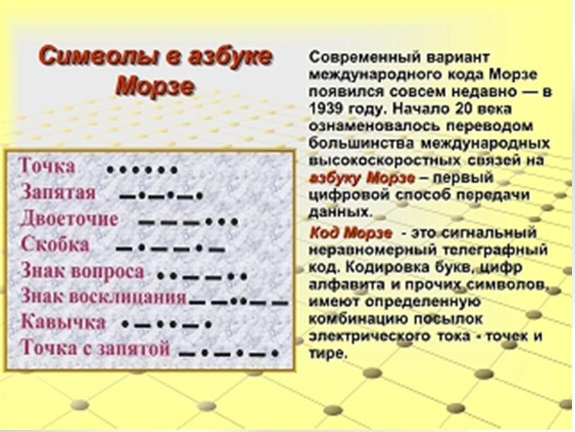 «Азбука Морзе: прошлое и настоящее»