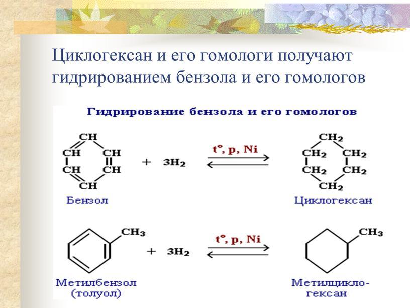 Циклогексан и его гомологи получают гидрированием бензола и его гомологов