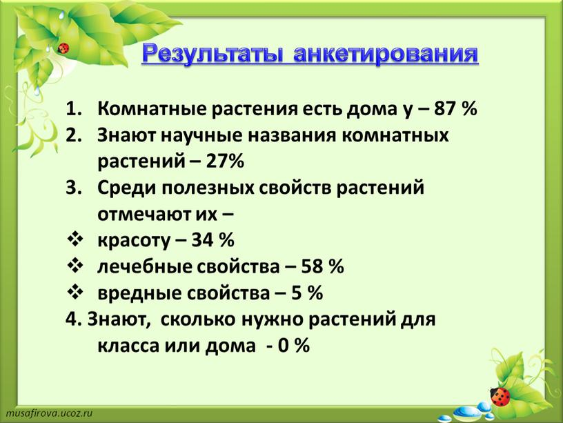 Результаты анкетирования Комнатные растения есть дома у – 87 %