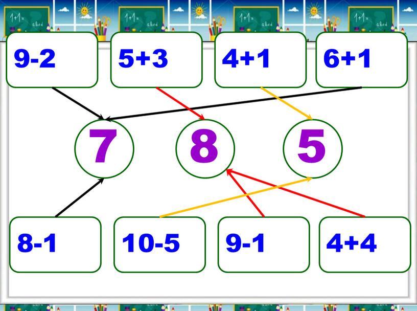 9-2 5+3 4+1 6+1 8-1 10-5 9-1 4+4 7 5 8