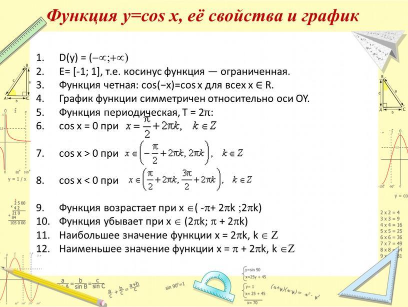 Функция у=соs x, её свойства и график