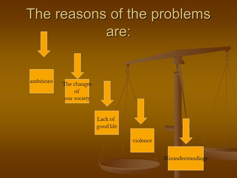 The reasons of the problems are: ambitions