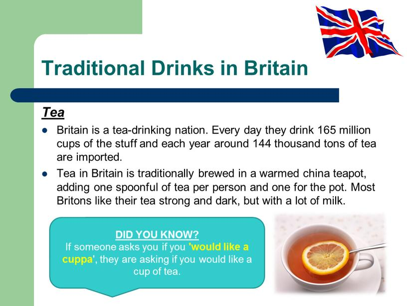 Traditional Drinks in Britain Tea