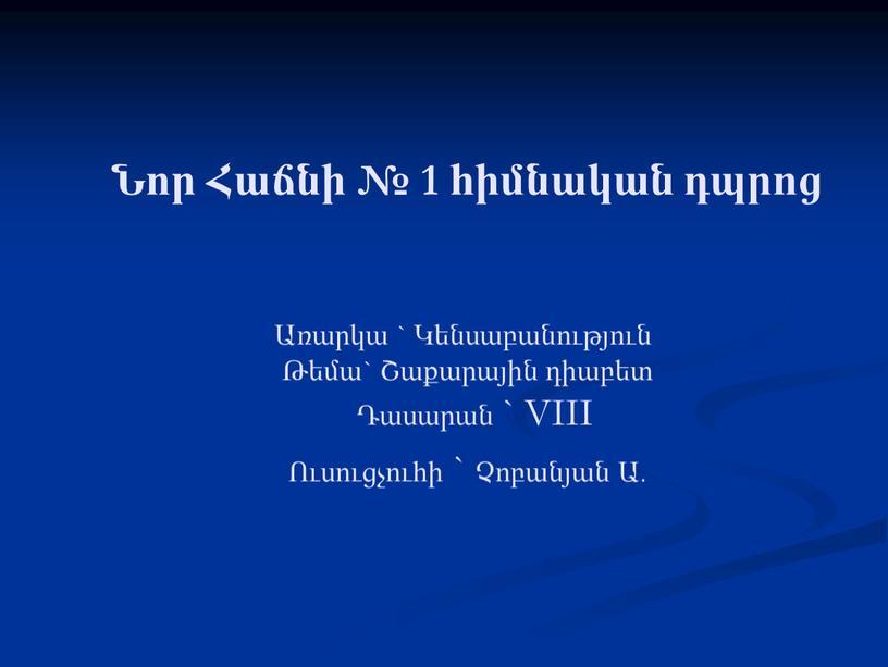 VIII Ուսուցչուհի ` Չոբանյան Ա.