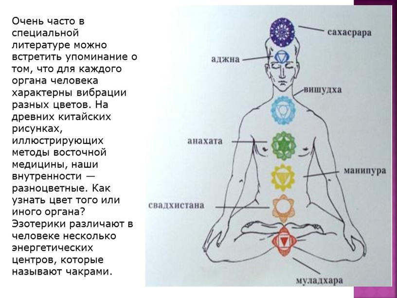 Очень часто в специальной литературе можно встретить упоминание о том, что для каждого органа человека характерны вибрации разных цветов
