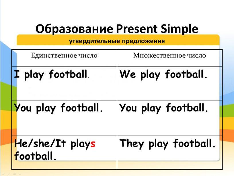 Образование Present Simple утвердительные предложения