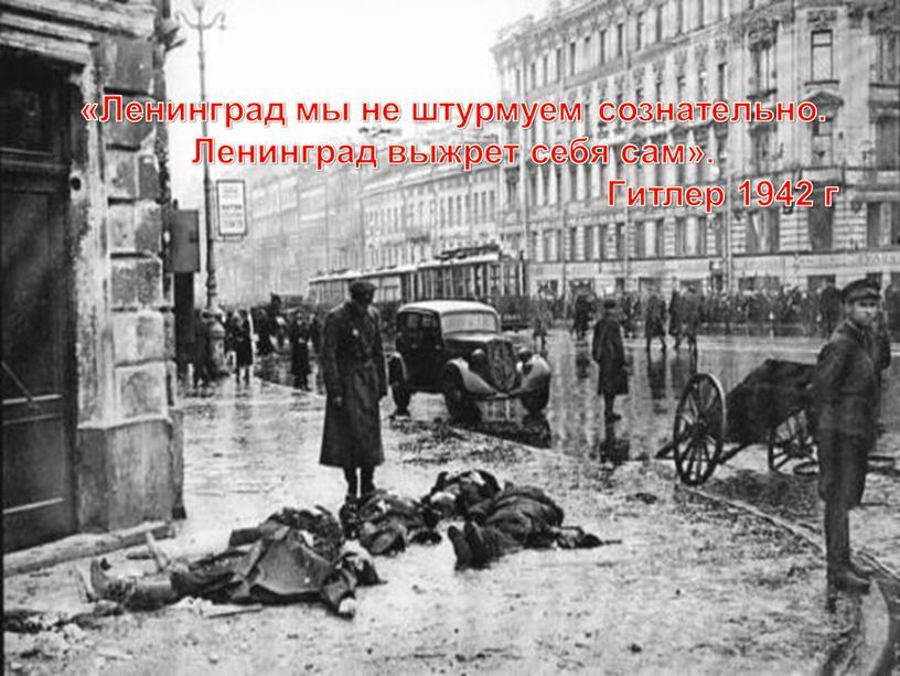 Ленинград мы не штурмуем сознательно
