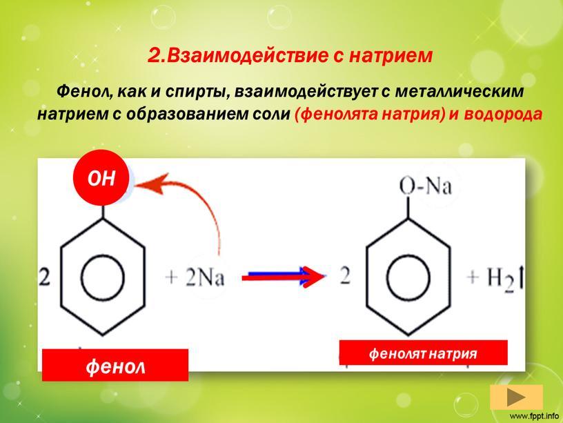 Взаимодействие с натрием Фенол, как и спирты, взаимодействует с металлическим натрием с образованием соли (фенолята натрия) и водорода фенолят натрия фенол