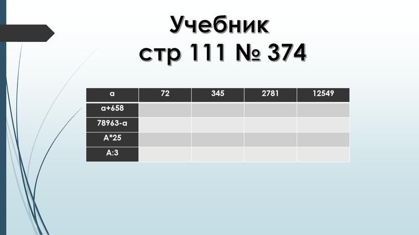 Учебник стр 111 № 374 а 72 345 2781 12549 а+658 78963-а