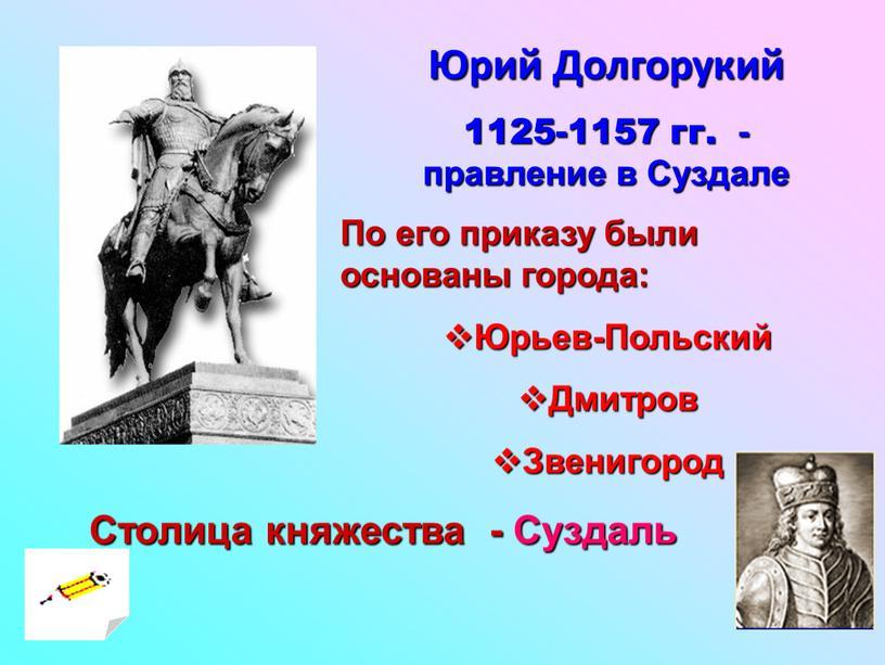 Юрий Долгорукий 1125-1157 гг. - правление в