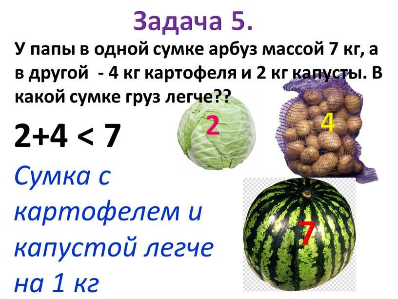 У папы в одной сумке арбуз массой 7 кг, а в другой - 4 кг картофеля и 2 кг капусты