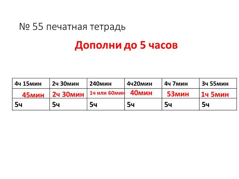 № 55 печатная тетрадь 4ч 15мин 2ч 30мин 240мин 4ч20мин 4ч 7мин 3ч 55мин 5ч 45мин 2ч 30мин 1ч или 60мин 40мин 53мин 1ч 5мин…