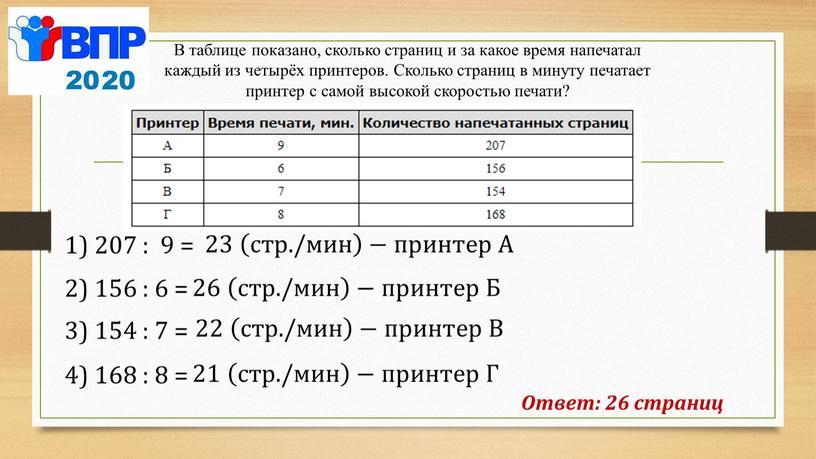 А Ответ: 26 страниц В таблице показано, сколько страниц и за какое время напечатал каждый из четырёх принтеров